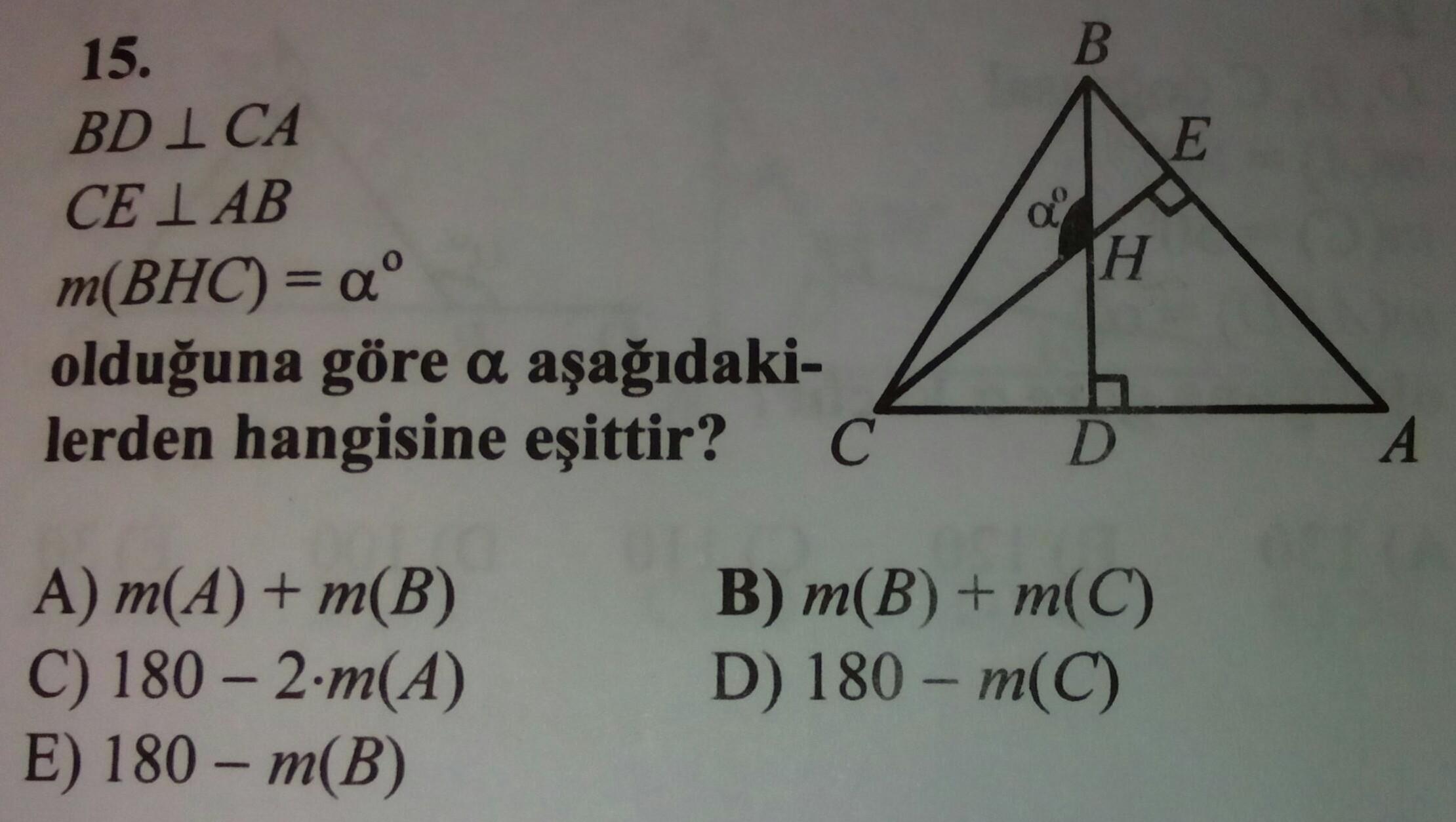 Geometri tyt üçgende açı